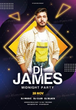 DJ Flyer Midnight Party V2811 2019 PSD Flyer Template