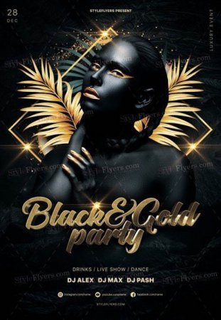 Black and Gold Party V0212 2019 PSD Flyer Template